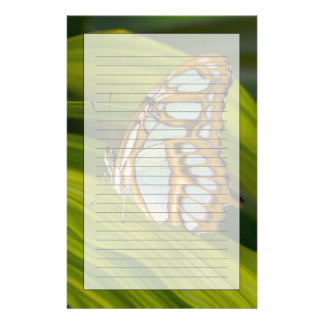 Butterfly resting on leaf stationery