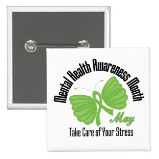 Butterfly Ribbon Mental Health Awareness Month 15 Cm Square Badge