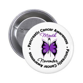 Butterfly Ribbon - Pancreatic Cancer Month 6 Cm Round Badge
