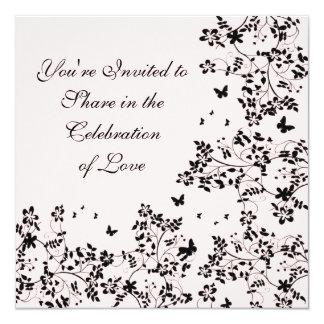 Butterfly Romance / Black 13 Cm X 13 Cm Square Invitation Card