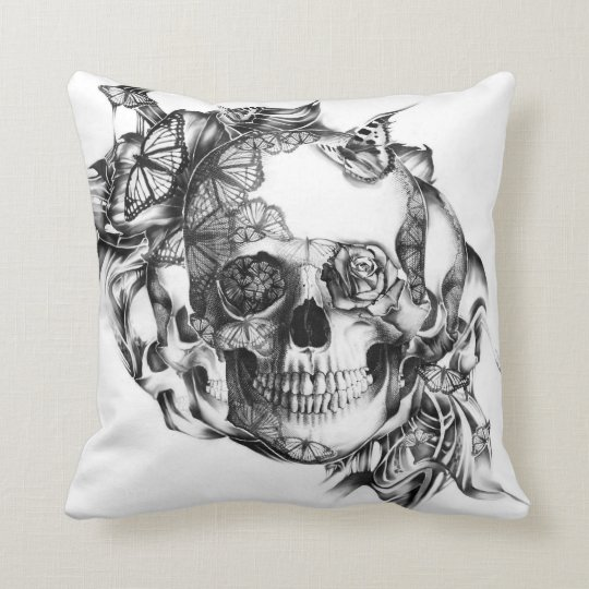 Butterfly Rose Skull from hand illustration Cushion