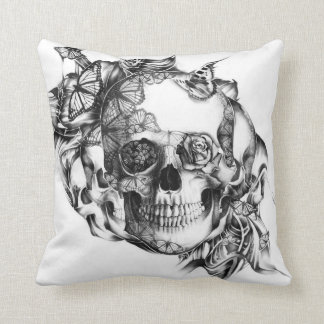 Butterfly Rose Skull from hand illustration Throw Pillow