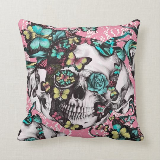 Butterfly rose skull on pink lace. throw pillow