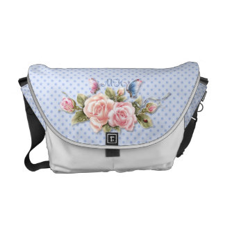 Butterfly Roses on Blue Dots with Monogram Courier Bag