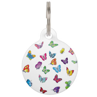Butterfly Round Large Pet Tag