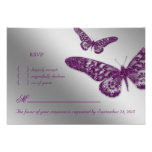 Butterfly RSVP Wedding Reply Card Purple Personalised Invites