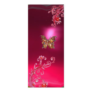 BUTTERFLY RUBY , bright red pink violet 10 Cm X 24 Cm Invitation Card