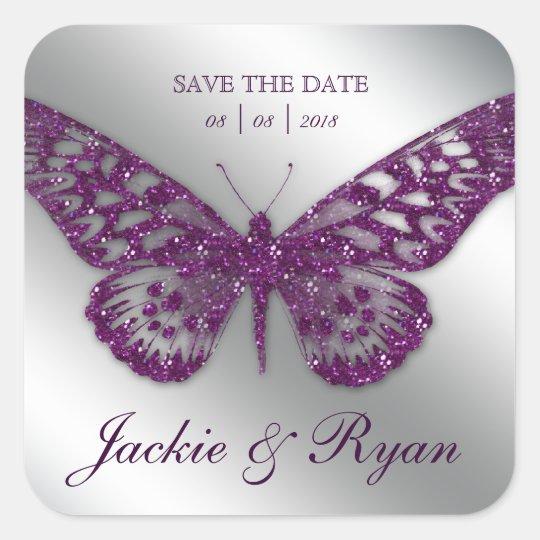 Butterfly Save Date Wedding Stickers Purple Sparkl