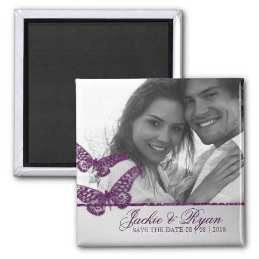 Butterfly Save the Date Magnet Photo Purple