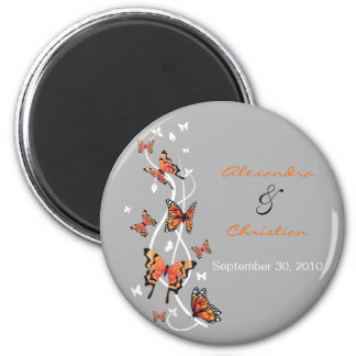 Butterfly Save The Date Wedding Announcement 6 Cm Round Magnet