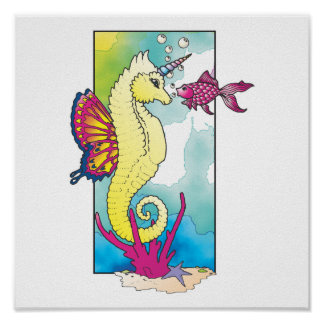 butterfly seahorse and fish posters