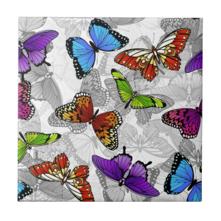 Butterfly Seamless Background Pattern Small Square Tile