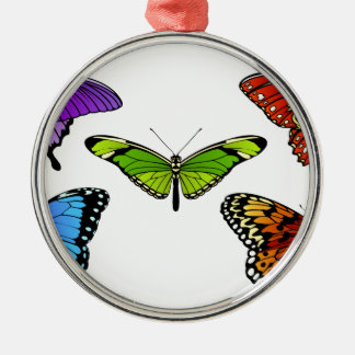 Butterfly Set Silver-Colored Round Decoration