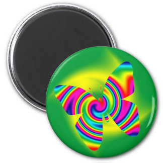 Butterfly Shaped Rainbow Twirl 6 Cm Round Magnet