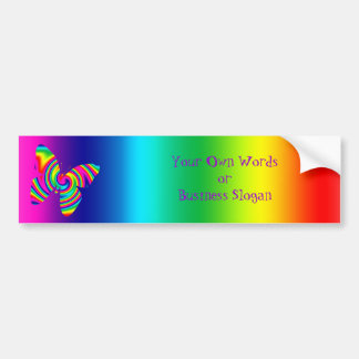Butterfly Shaped Rainbow Twirl Bumper Sticker
