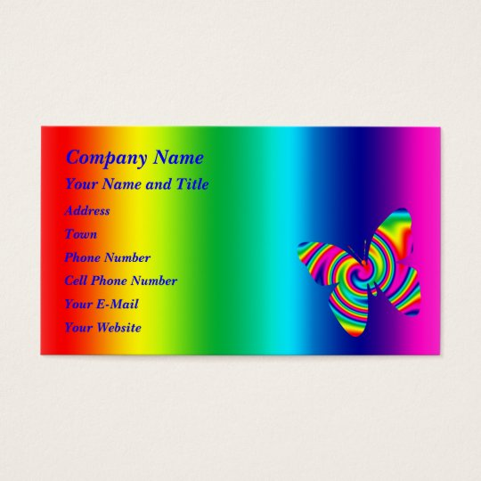 Butterfly Shaped Rainbow Twirl Business Card
