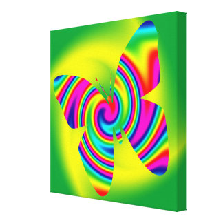Butterfly Shaped Rainbow Twirl Gallery Wrapped Canvas