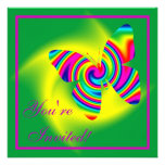 Butterfly Shaped Rainbow Twirl Personalized Invitation