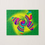 Butterfly Shaped Rainbow Twirl Jigsaw Puzzle