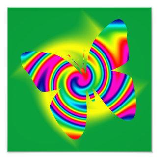 Butterfly Shaped Rainbow Twirl Art Photo