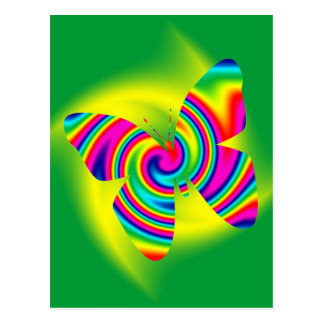 Butterfly Shaped Rainbow Twirl Post Card