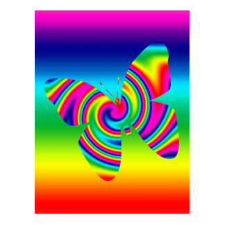Butterfly Shaped Rainbow Twirl Post Cards