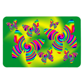 Butterfly Shaped Rainbow Twirl Rectangular Photo Magnet