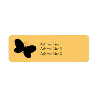 Butterfly Silhouette on Yellow Address Label