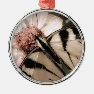 Butterfly Silver-Colored Round Decoration