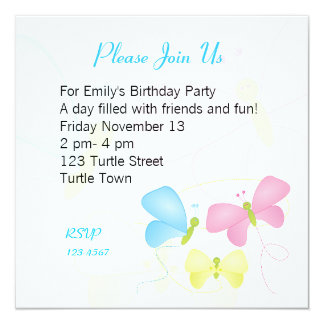 Butterfly Sisters 13 Cm X 13 Cm Square Invitation Card
