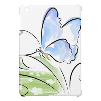 Butterfly sitting on grass over flower field case for the iPad mini