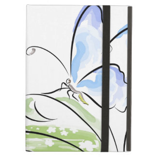 Butterfly sitting on grass over flower field cover for iPad air