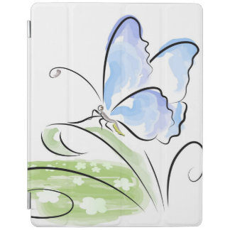 Butterfly sitting on grass over flower field iPad cover