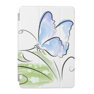 Butterfly sitting on grass over flower field iPad mini cover
