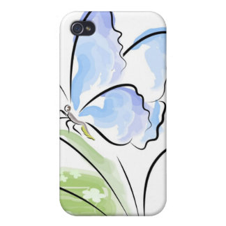 Butterfly sitting on grass over flower field iPhone 4 case