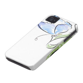 Butterfly sitting on grass over flower field iPhone 4 Case-Mate cases