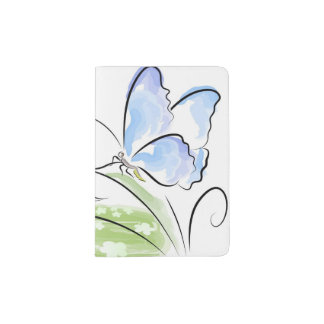 Butterfly sitting on grass over flower field passport holder