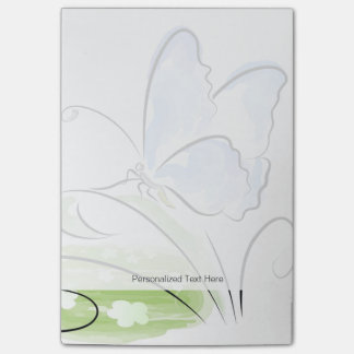 Butterfly sitting on grass over flower field post-it® notes