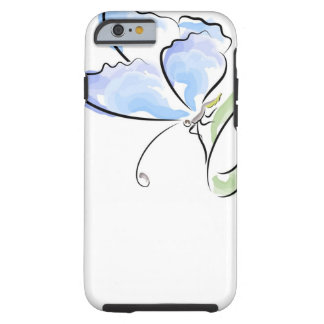 Butterfly sitting on grass over flower field tough iPhone 6 case