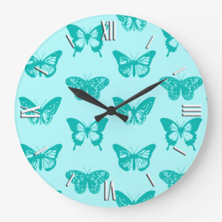 Butterfly sketch, aqua and turquoise large clock