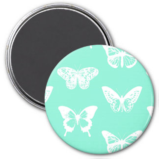 Butterfly sketch, aqua and white 7.5 cm round magnet