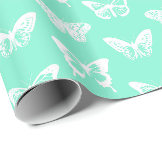 Butterfly sketch, aqua and white wrapping paper