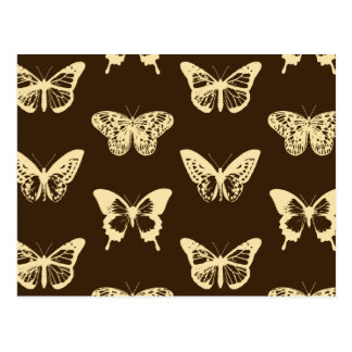 Butterfly sketch, beige on chocolate brown postcard