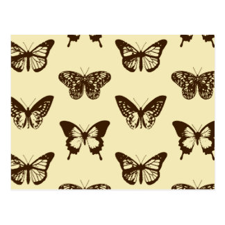Butterfly sketch, chocolate brown on beige postcard