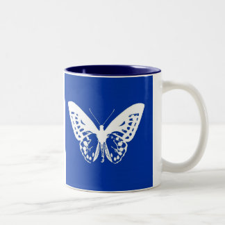 Butterfly sketch, cobalt blue and white mug