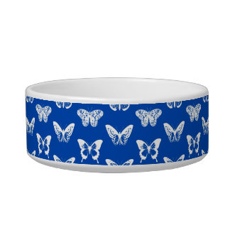 Butterfly sketch, cobalt blue and white pet bowls