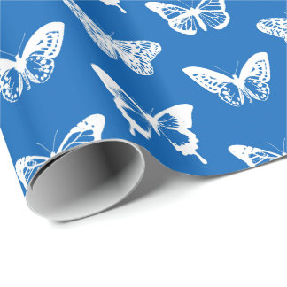 Butterfly sketch, cobalt blue and white wrapping paper