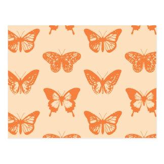 Butterfly sketch, coral orange postcards