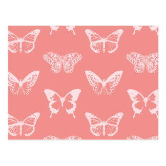 Butterfly sketch, coral pink postcard