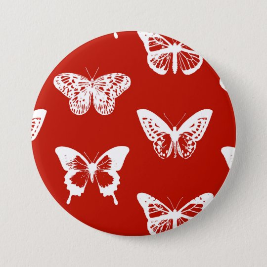Butterfly sketch, deep red and white 7.5 cm round badge